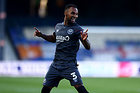 31st October 2020; Kenilworth Road, Luton, Bedfordshire, England; English Football League Championship Football, Luton Town versus Brentford; Rico Henry of Brentford celebrates his goal for 0-1 in the 20th minute