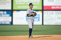Pulaski Yankees shortstop Wilkerman Garcia (28) on defense against the Danville Braves at American Legion Post 325 Field on July 31, 2016 in Danville, Virginia.  The Yankees defeated the Braves 8-3.  (Brian Westerholt/Four Seam Images)
