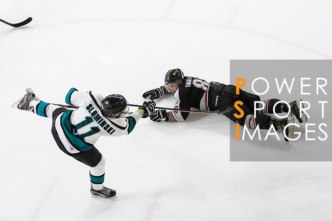 Hal Slominski of Cathay Flyers (L) battle for the puck with Emil Ivarsson of Nordic Vikings (R) during the Mega Ice Hockey 5s match between Cathay Flyers and Nordic Vikings on May 03, 2018 in Hong Kong, Hong Kong. Photo by Marcio Rodrigo Machado / Power Sport Images