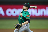 Down East Wood Ducks relief pitcher Josh Advocate (11) in action against the Winston-Salem Dash at BB&T Ballpark on May 10, 2019 in Winston-Salem, North Carolina. The Wood Ducks defeated the Dash 9-2. (Brian Westerholt/Four Seam Images)