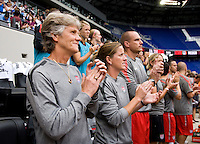 Pia Sundhage, Erica Walsh, Paul Rogers, staff. The USWNT defeated Mexico, 1-0, during the game at Red Bull Arena in Harrison, NJ.