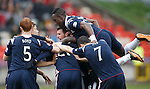 Yoann Arquin celebrates after getting the second goal for Ross County