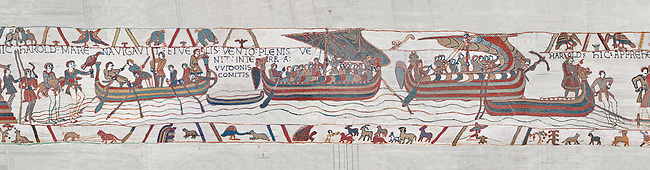 Bayeux Tapestry scene 5 : Strong winds blow Harold ships off course to the lands of Guy de Ponthieu. BYX5