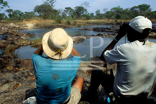 Lukulu, Zambia. Tourists looking for wildlife with binoculars beside a stream.