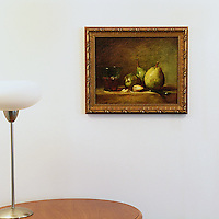 """Chardin: """"Pears and A Cup of Wine"""", Digital Print, Image Dims. 13"""" x 16"""", Framed Dims. 16.25"""" x 19.25"""""""