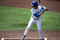 Duke Blue Devils second baseman Graham Pauley (44) at bat against the Liberty Flames in NCAA Regional play on Robert M. Lindsay Field at Lindsey Nelson Stadium on June 4, 2021, in Knoxville, Tennessee. (Danny Parker/Four Seam Images)