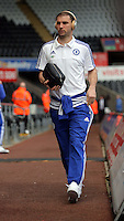 Branislav Ivanovic of Chelsea arrives before the Barclays Premier League match between Swansea City and Chelsea at the Liberty Stadium, Swansea on April 9th 2016