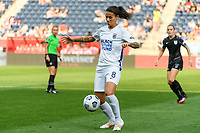 BRIDGEVIEW, IL - JULY 18: Dzsenifer Marozsan #8 of the OL Reign plays the ball during a game between OL Reign and Chicago Red Stars at SeatGeek Stadium on July 18, 2021 in Bridgeview, Illinois.