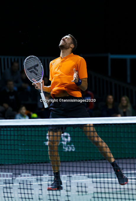 Rotterdam, The Netherlands, 12 Februari 2020, ABNAMRO World Tennis Tournament, Ahoy. Doubles: David Pels (NED).<br /> <br /> <br /> Photo: www.tennisimages.com