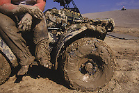 Off-road enthusiasts enjoy riding on old mine tailings at St. Joe State Park. This park is on the list of potential superfund cleanup sites.  It is the largest and highest use park in Missouri.  Workers are tested for heavy metals every 3 months.<br /> Once an ancient sea, its uplifted floor untouched by scouring glaciers that stopped to the north.  Eons of erosion carved deep valleys into the Ozarks crusty limestone plateau, transforming its flat surface into the unlikely role of hills.  They march nearly level into the distance, and peak at 2,600 feet in Arkansas's Boston Mountains...  Ozarks region in Missouri and Arkansas by Randy Olson for National Geographic Magazine.