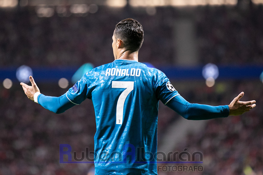 Cristiano Ronaldo of Juventus FC during the UEFA Champions League football match between Atletico de Madrid and Juventus FC played at the Wanda Metropolitano Stadium in Madrid, on September 18th 2019
