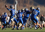 Carson's Joe Nelson passes against Reed during the NIAA D-1 Northern Regional title game at Bishop Manogue High School in Reno, Nev., on Saturday, Nov. 29, 2014. Reed won 28-25.<br /> Photo by Cathleen Allison