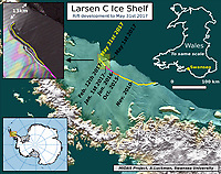 """Pictured: The Ice rift map<br /> Re: Antarctic ice rift close to calving, after growing 17km in 6 days – latest data from ice shelf<br /> The rift in the Larsen C ice shelf in Antarctica has grown by 17km in the last few days and is now only 13km from the ice front, indicating that calving of an iceberg is probably very close, Swansea University researchers revealed after studying the latest satellite data.<br /> The rift in Larsen C is likely to lead to one of the largest icebergs ever recorded.  It is being monitored by researchers from the UK's Project Midas, led by Swansea University.<br /> Professor Adrian Luckman of Swansea University College of Science, head of Project Midas, described the latest findings:<br /> """"In the largest jump since January, the rift in the Larsen C Ice Shelf has grown an additional 17 km (11 miles) between May 25 and May 31 2017. This has moved the rift tip to within 13 km (8 miles) of breaking all the way through to the ice front, producing one of the largest ever recorded icebergs.<br /> The rift tip appears also to have turned significantly towards the ice front, indicating that the time of calving is probably very close.<br /> The rift has now fully breached the zone of soft 'suture' ice originating at the Cole Peninsula and there appears to be very little to prevent the iceberg from breaking away completely."""""""