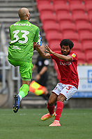 Bristol City's goalkeeper Niki Maenpaa (left) clashes with Bristol City's Jay Dasilva (right) <br /> <br /> Photographer David Horton/CameraSport<br /> <br /> The EFL Sky Bet Championship - Bristol City v Sheffield Wednesday - Sunday 28th June 2020 - Ashton Gate Stadium - Bristol <br /> <br /> World Copyright © 2020 CameraSport. All rights reserved. 43 Linden Ave. Countesthorpe. Leicester. England. LE8 5PG - Tel: +44 (0) 116 277 4147 - admin@camerasport.com - www.camerasport.com