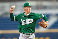 Eastern Michigan Hurons pitcher Brent Mattson (9) makes a pickoff throw to first base against the Michigan Wolverines on May 3, 2016 at Ray Fisher Stadium in Ann Arbor, Michigan. Michigan defeated Eastern Michigan 12-4. (Andrew Woolley/Four Seam Images)