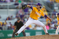 LSU Tigers pitcher Zac Person (49) delivers a pitch to the plate during the Southeastern Conference baseball game against the Texas A&M Aggies on April 25, 2015 at Alex Box Stadium in Baton Rouge, Louisiana. Texas A&M defeated LSU 6-2. (Andrew Woolley/Four Seam Images)