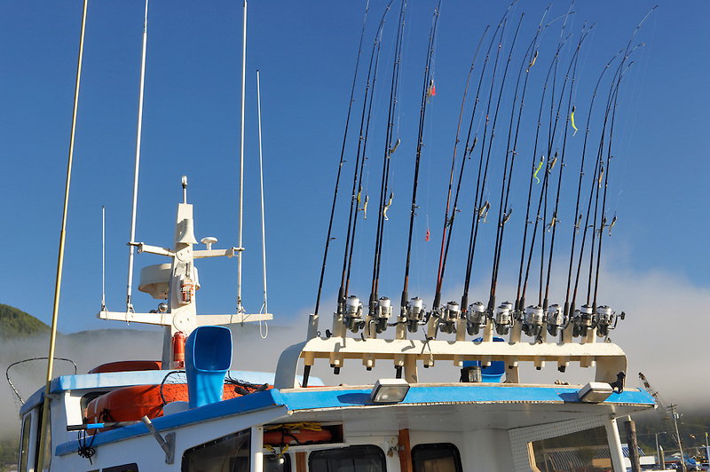 Fishing poles on sport fishing boat. Garibaldi boat harbor. Oregon