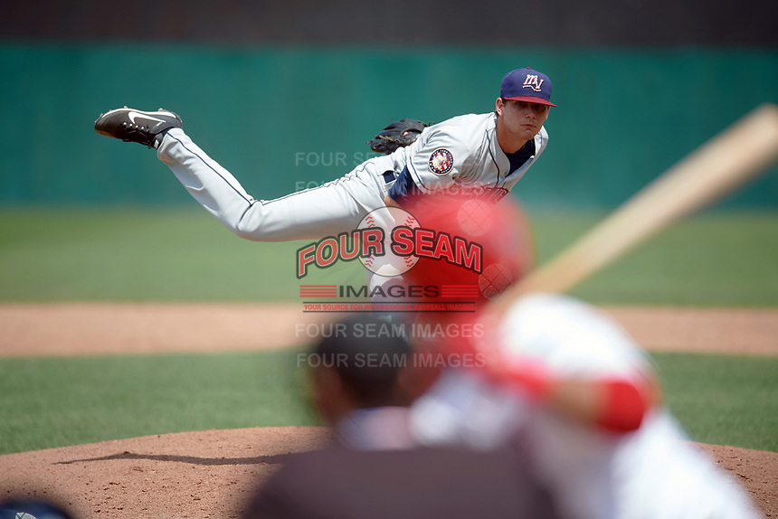 Mahoning Valley Scrappers relief pitcher Riley Echols (35) follows through on a pitch during the first game of a doubleheader against the Auburn Doubledays on July 2, 2017 at Falcon Park in Auburn, New York.  Mahoning Valley defeated Auburn 3-0.  (Mike Janes/Four Seam Images)