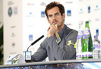 Andy Murray of Great Britain speaks to the press at Media Day before the start of the ATP World Tour Finals, The O2, London, 2015