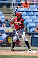 Altoona Curve catcher Christian Kelley (49) at bat during a game against the Binghamton Rumble Ponies on June 14, 2018 at NYSEG Stadium in Binghamton, New York.  Altoona defeated Binghamton 9-2.  (Mike Janes/Four Seam Images)