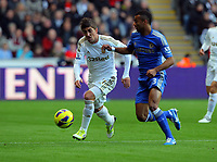 Saturday, 03 November 2012<br /> Pictured L-R: Pablo Hernandez of Swansea marked by Ashley Cole of Chelsea<br /> Re: Barclays Premier League, Swansea City FC v Chelsea at the Liberty Stadium, south Wales.