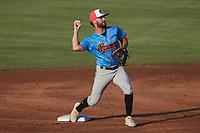 Guerreros de Fayetteville second baseman Ronaldo Urdaneta (3) 2018 Draft Rapidos de Kannapolis at Atrium Health Ballpark on June 24, 2021 in Kannapolis, North Carolina. (Brian Westerholt/Four Seam Images)