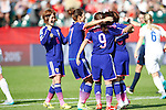 Japan team group (JPN), JULY 1, 2015 - Football / Soccer : Players of Japan celebate scoring the opening goal by Aya Miyama from a penalty shot during the FIFA Women's World Cup Canada 2015 Semi-final match between Japan 2-1 England at Commonwealth Stadium in Edmonton, Canada. (Photo by AFLO)