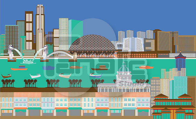 Illustration showing top tourist attractions in Singapore