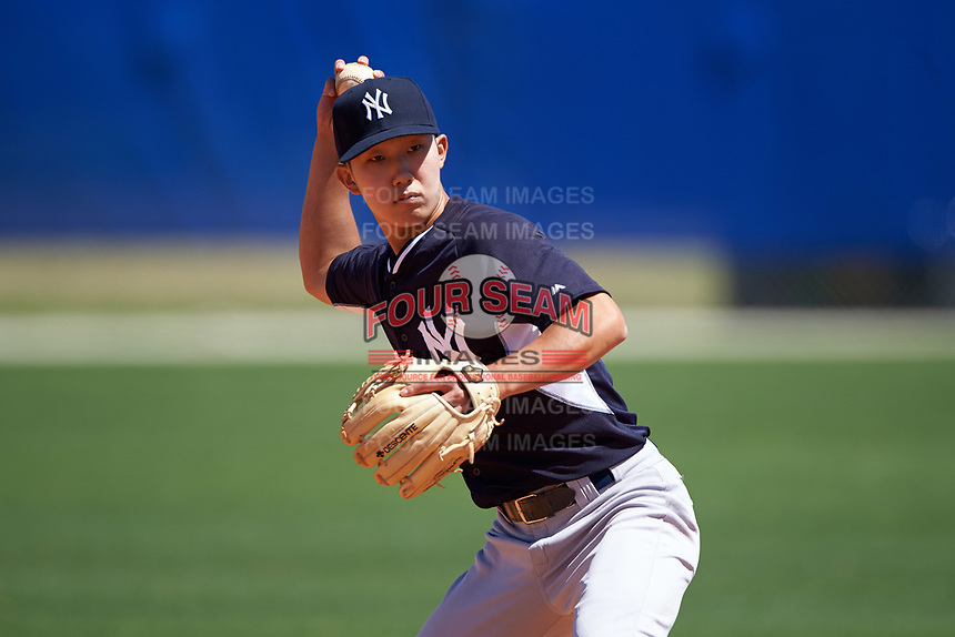 New York Yankees Hoy Jun Park (11) during practice before a minor league Spring Training game against the Toronto Blue Jays on March 22, 2016 at Englebert Complex in Dunedin, Florida.  (Mike Janes/Four Seam Images)