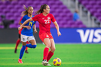 ORLANDO, FL - FEBRUARY 24: Lindsay Agnew #22 of the CANWNT dribbles the ball during a game between Brazil and Canada at Exploria Stadium on February 24, 2021 in Orlando, Florida.