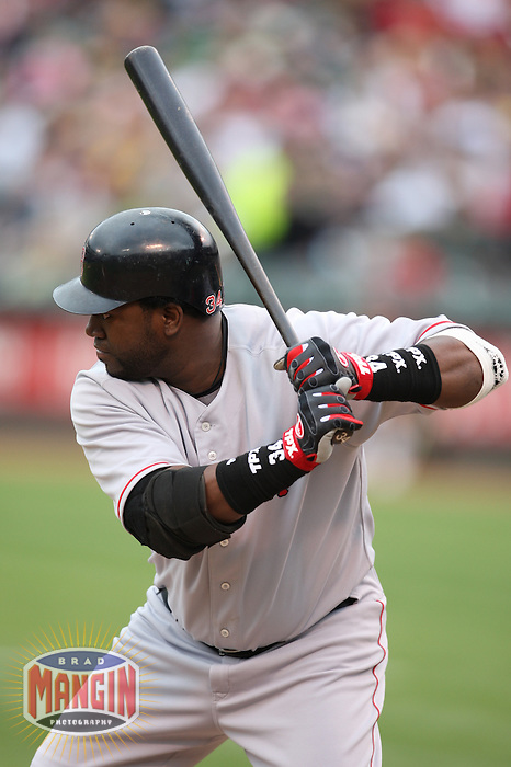 OAKLAND, CA - MAY 24:  David Ortiz of the Boston Red Sox bats during the game against the Oakland Athletics at the McAfee Coliseum in Oakland, California on May 24, 2008.  The Athletics defeated the Red Sox 3-0.  Photo by Brad Mangin