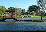Gazebo on Stone Bridge, Taiko Bashi Drum Bridge, Ishidoro Stone Lantern, Waihonu Pond, Liliuokalani Gardens, Hilo, Big Island of Hawaii