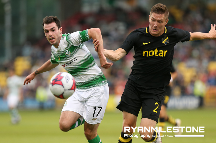 Joel Coustrain of Shamrock Rovers in action against Haukur Hauksson of AIK during the UEFA Europa League First Qualifying Round First Leg between Shamrock Rovers and AIK on Thursday 12th July 2018 at Tallaght Stadium, Dublin. Photo By Michael P Ryan