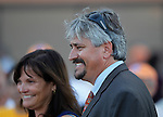 September 22, 2012. My Miss Aurelia, ridden by Corey Nakatani and trained by Steve Asmussen, wins the 43rd running of the Grade 1 Cotillion Stakes at Parx Racing in Bensalem, PA. Steve Asmussen and owner Barbara Banke. (Joan Fairman Kanes/Eclipse Sportswire)