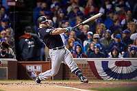 Cleveland Indians Mike Napoli (26) bats in the second inning during Game 5 of the Major League Baseball World Series against the Chicago Cubs on October 30, 2016 at Wrigley Field in Chicago, Illinois.  (Mike Janes/Four Seam Images)