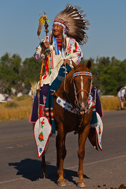 A rider and horse display their finery waiting to join the parade