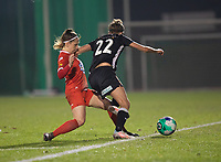 Taika De Koker (20) of Femina White Star Woluwe and Justine Blave (22) of Eendracht Aalst pictured during a female soccer game between FC Femina White Star Woluwe and Eendracht Aalst on the sixth matchday in the 2021 - 2022 season of Belgian Scooore Womens Super League , friday 8 th of october 2021  in Woluwe , Belgium . PHOTO SPORTPIX | KRISTOF DE MOOR