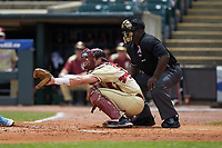Florida State Seminoles catcher Cal Raleigh (35) prepares to receive a pitch as home plate umpire Troy Fullwood looks on during the game against the North Carolina Tar Heels in the 2017 ACC Baseball Championship Game at Louisville Slugger Field on May 28, 2017 in Louisville, Kentucky. The Seminoles defeated the Tar Heels 7-3. (Brian Westerholt/Four Seam Images)