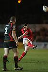 Ian Keatley kicks an early penalty for Munster..RaboDirect Pro12.Dragons v Munster.03.03.12.©STEVE POPE