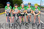 Killorglin Cyclists on the starting line at the Cycling County Championships in Kilcummin on Saturday l-r: Jamie O'Shea, Micheál O'Shea, Edward Casey, Jamie O'Donoghue and Sean Doona