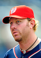 4 July 2009: Washington Nationals outfielder Adam Dunn is interviewed after a game against the Atlanta Braves at Nationals Park in Washington, DC. Dunn hit his career 300th home run as the Nationals rallied with 4 runs in the 8th inning to defeat the Braves 5-3 and take the second game tying the 3-game weekend series. Mandatory Credit: Ed Wolfstein Photo