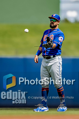 7 March 2019: New York Mets infielder Luis Guillorme warms up prior to a Spring Training Game against the Washington Nationals at the Ballpark of the Palm Beaches in West Palm Beach, Florida. The Nationals defeated the visiting Mets 6-4 in Grapefruit League, pre-season play. Mandatory Credit: Ed Wolfstein Photo *** RAW (NEF) Image File Available ***