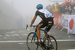 Juan Antonio Flecha (ESP) Sky Pro Cycling crosses the summit finish of the Col du Tourmalet during a wet foggy Stage 17 of the 2010 Tour de France running 174km from Pau to Col du Tourmalet, France. 22nd July 2010.<br /> (Photo by Eoin Clarke/NEWSFILE).<br /> All photos usage must carry mandatory copyright credit (© NEWSFILE | Eoin Clarke)