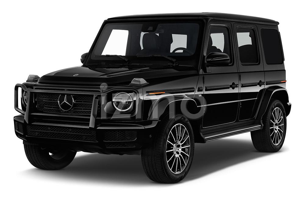 2019 Mercedes Benz G-Class G-550 5 Door SUV angular front stock photos of front three quarter view