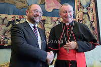 Cardinal Parolin, during meeting European Parliament president Martin Schulz at the end of their private audience at the Vatican on October 30, 2014.