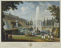 View of the Great Cascade, Samson Fountain and Great Palace at Peterhof<br /> Artist:Chesky (Cheskoy), Ivan Vasilievich(1782-1848)<br /> Museum:State Hermitage, St. Petersburg<br /> Method:Copper engraving, watercolour<br /> Created:Early 19th cen.<br /> School:Russia<br /> Trend in art:Classicism