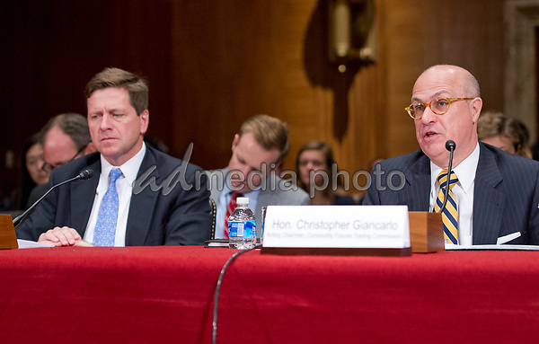 Jay Clayton, Chairman, United States Securities and Exchange Commission, left, and J. Christopher Giancarlo, Acting Chairman, Commodity Futures Trading Commission, right, testify before the US Senate Committee on Appropriations Subcommittee on Financial Services and General Government hearing to examine proposed budget estimates and justification for fiscal year 2018 for the SEC and the CFTC on Capitol Hill in Washington, DC on Tuesday, June 27, 2017. Photo Credit: Ron Sachs/CNP/AdMedia