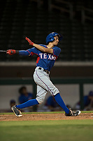 AZL Rangers infielder Jayce Easley (71) follows through on his swing during an Arizona League game against the AZL Cubs 2 at Sloan Park on July 7, 2018 in Mesa, Arizona. AZL Rangers defeated AZL Cubs 2 11-2. (Zachary Lucy/Four Seam Images)