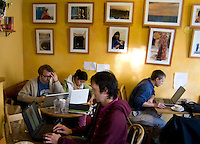 Haight Ashbury Hippie Section of san Francisco inside Internet Cafe and patron