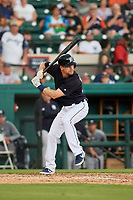 Detroit Tigers second baseman Gordon Beckham (29) at bat during a Grapefruit League Spring Training game against the New York Yankees on February 27, 2019 at Publix Field at Joker Marchant Stadium in Lakeland, Florida.  Yankees defeated the Tigers 10-4 as the game was called after the sixth inning due to rain.  (Mike Janes/Four Seam Images)